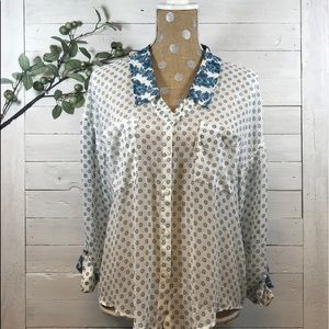 Free People Sheer Floral Button Shirt w/ Collar